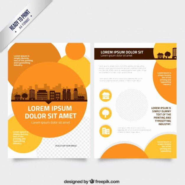 Flyer Template with orange Circles Vector