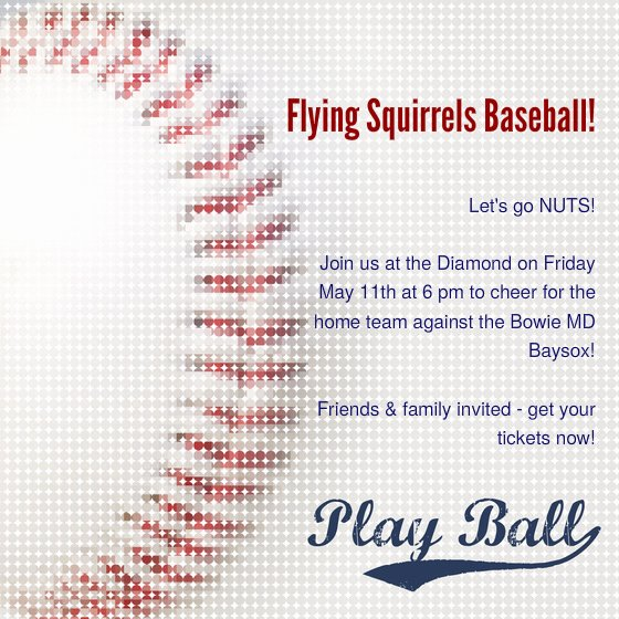 Flying Squirrels Baseball Line Invitations & Cards by