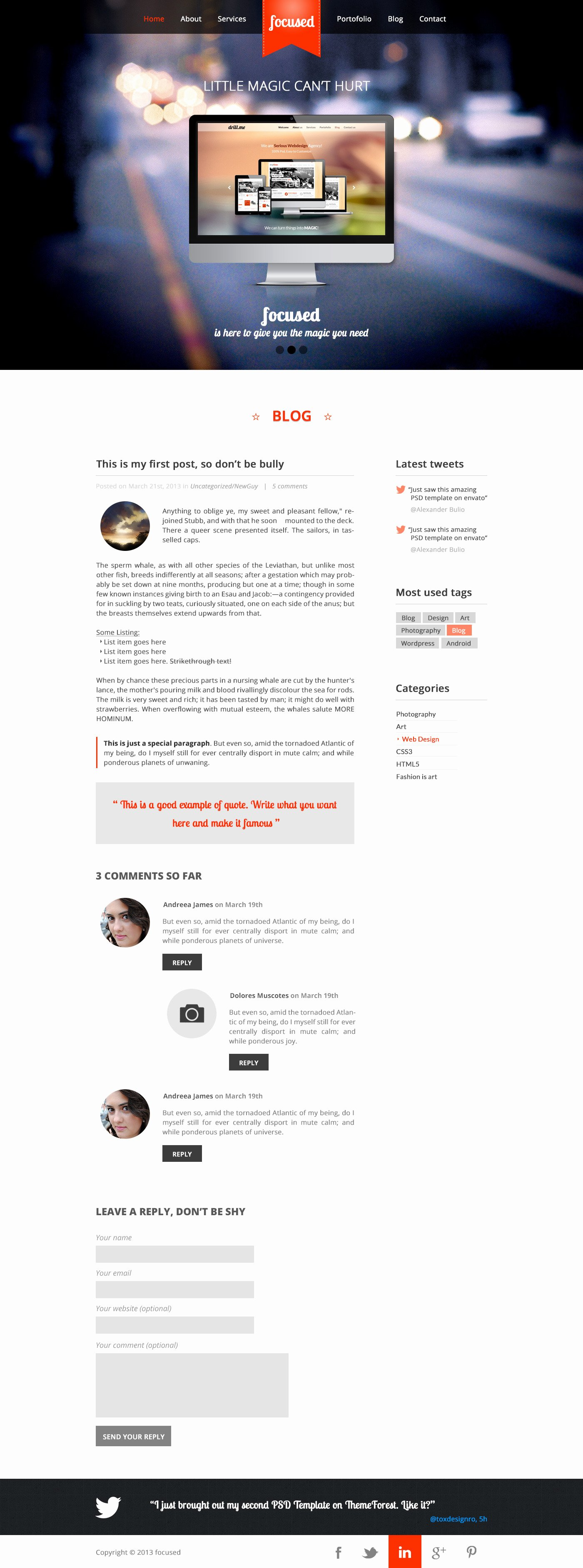 Focused E Page HTML5 Template by toxdesignro