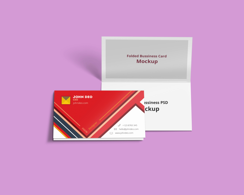 Folded Business Card Psd Mockup Creativecrunk