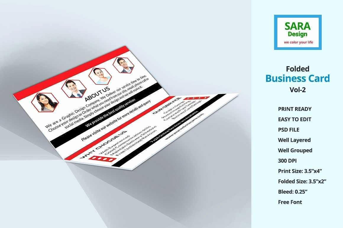 Folded Business Cards Template Fresh Corporate Folded