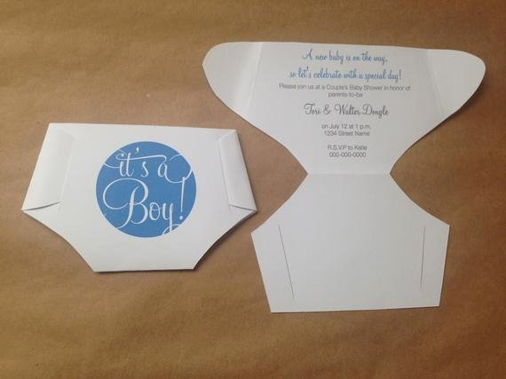 Folded Diaper Baby Shower Invitations Template with Diy