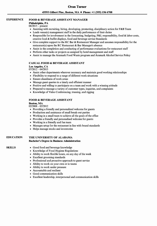Food & Beverage assistant Resume Samples