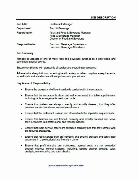 Food and Beverage Job Descriptions