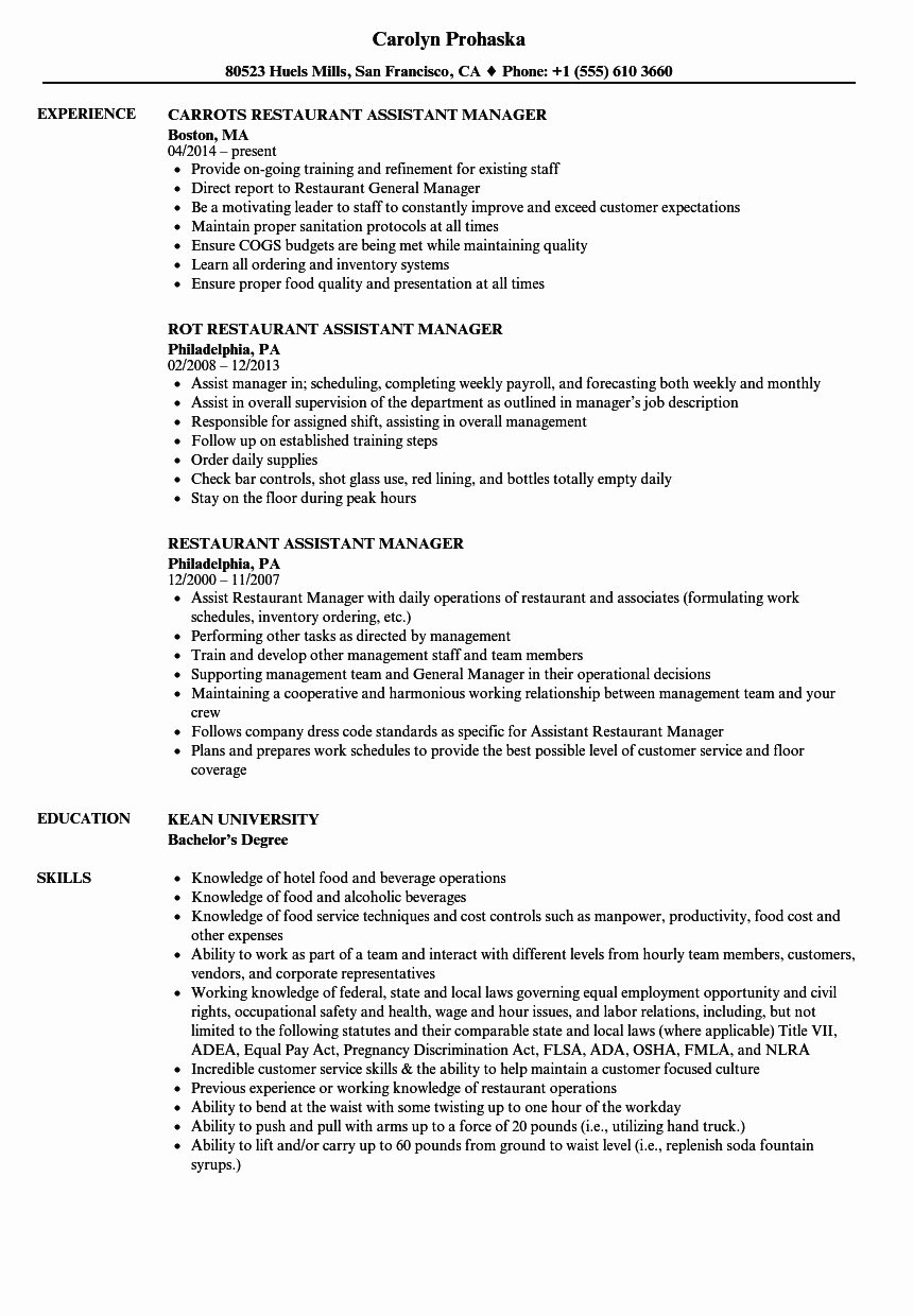 Food and Beverage Resume Inspirational Food and Beverage
