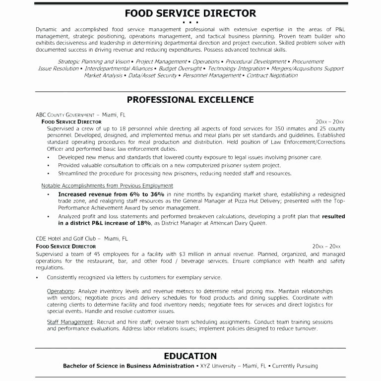 Food and Beverage Supervisor Resume Talktomartyb