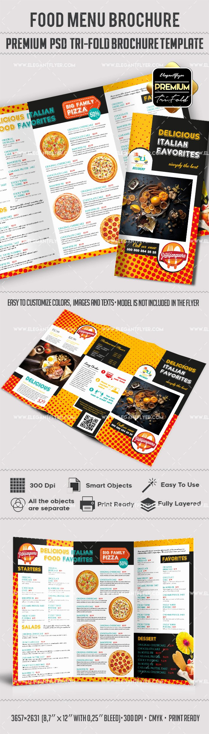 food menu premium tri fold psd brochure template 2