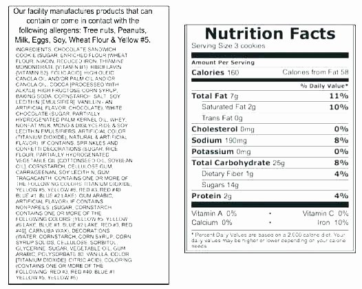 Food Nutrition Label Template