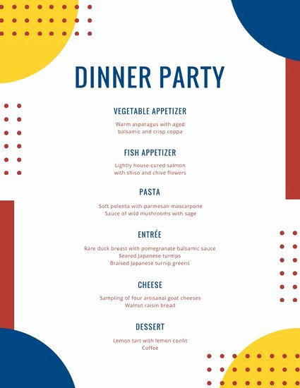 Food Overlay Dinner Party Menu Templates by Canva