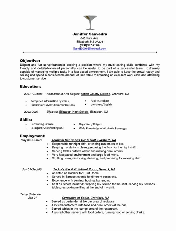 Food Server Resume Skills Resume Pinterest
