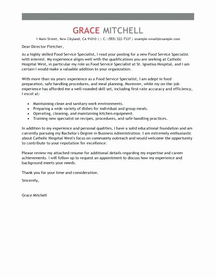 Food Service Cover Letter Customer Service Cover Letter