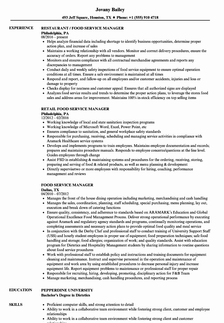 Food Service Manager Resume Samples