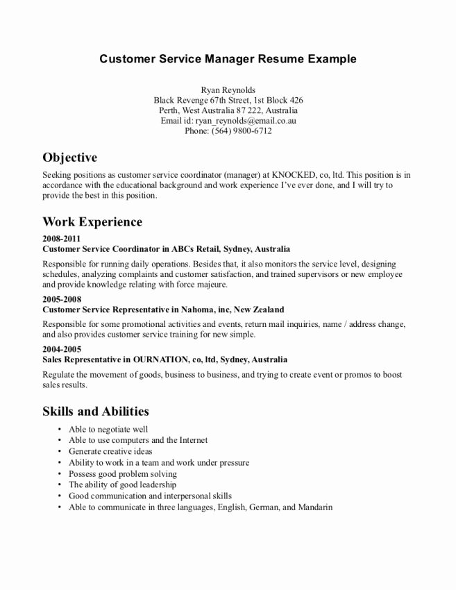 Food Service Resume Objective Examples Resume Sample
