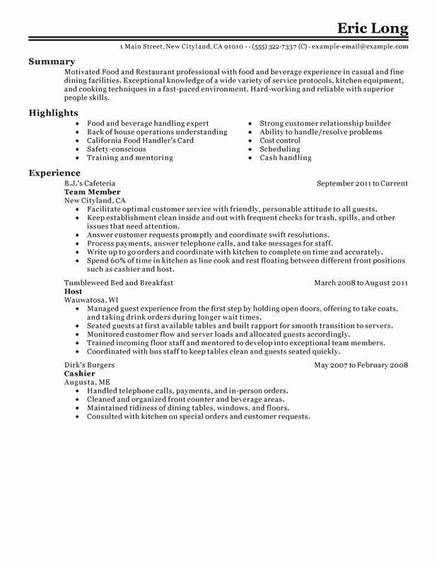 Food Service Sample Resume Best Resume Gallery