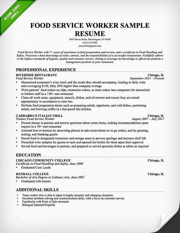 Food Service Waitress & Waiter Resume Samples & Tips