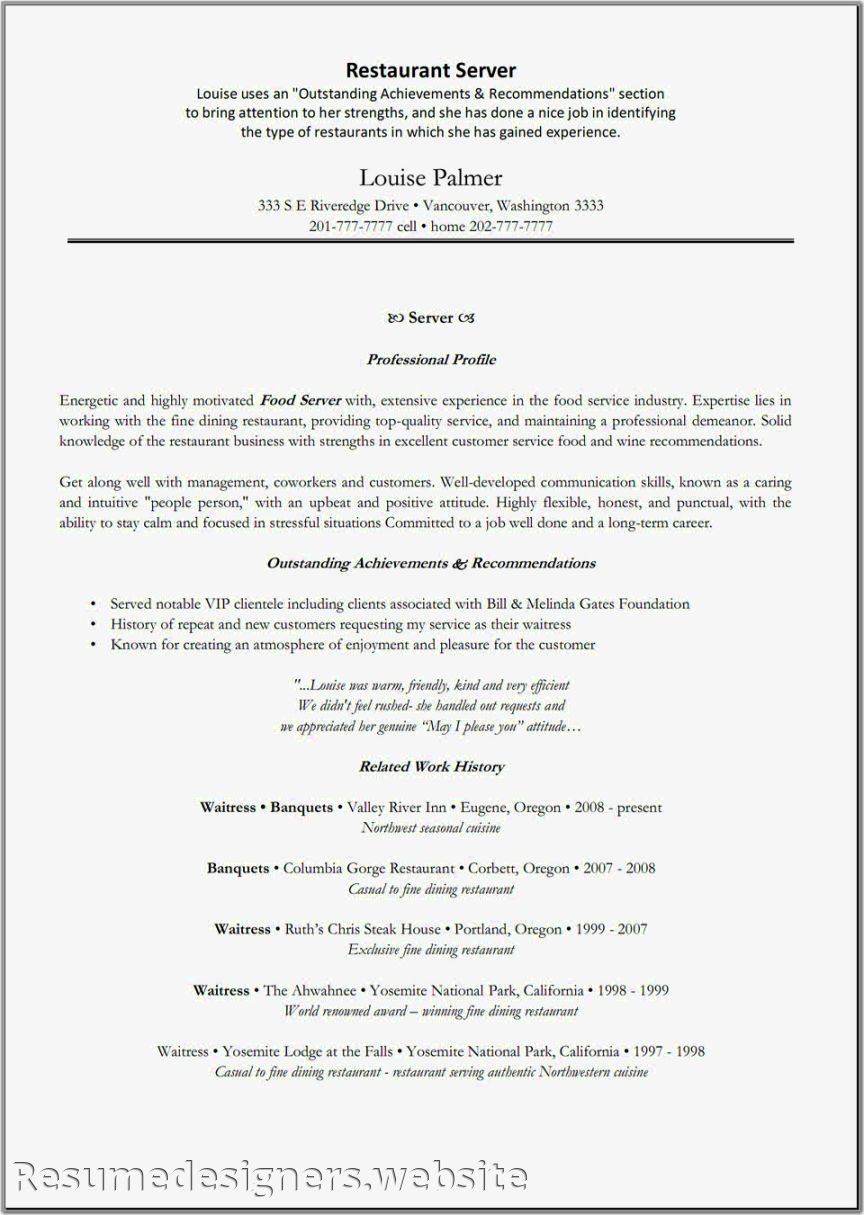 Food Service Worker Resume Example – Perfect Resume format