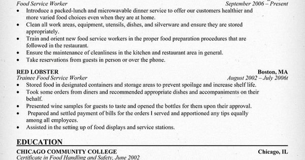 Food Service Worker Resume Sample Use This Food Service