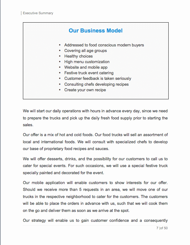 Food Truck Business Plan Template Sample Pages Black Box