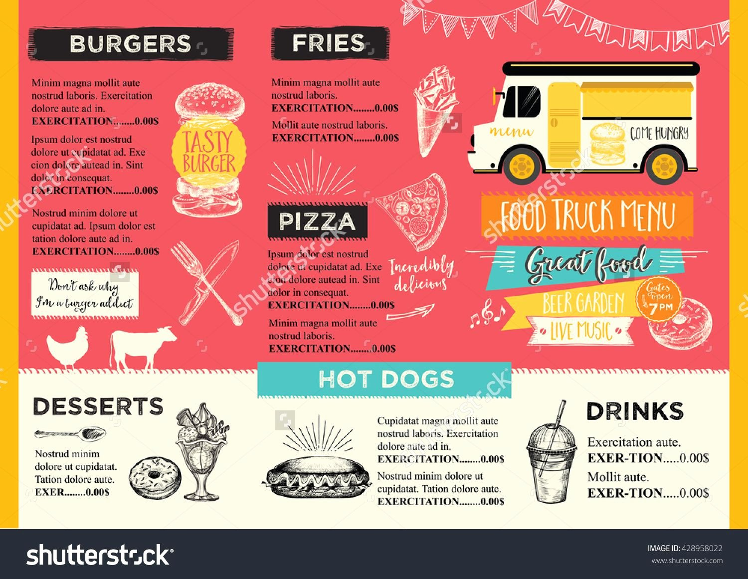 Food Truck Festival Menu Food Brochure Street Food
