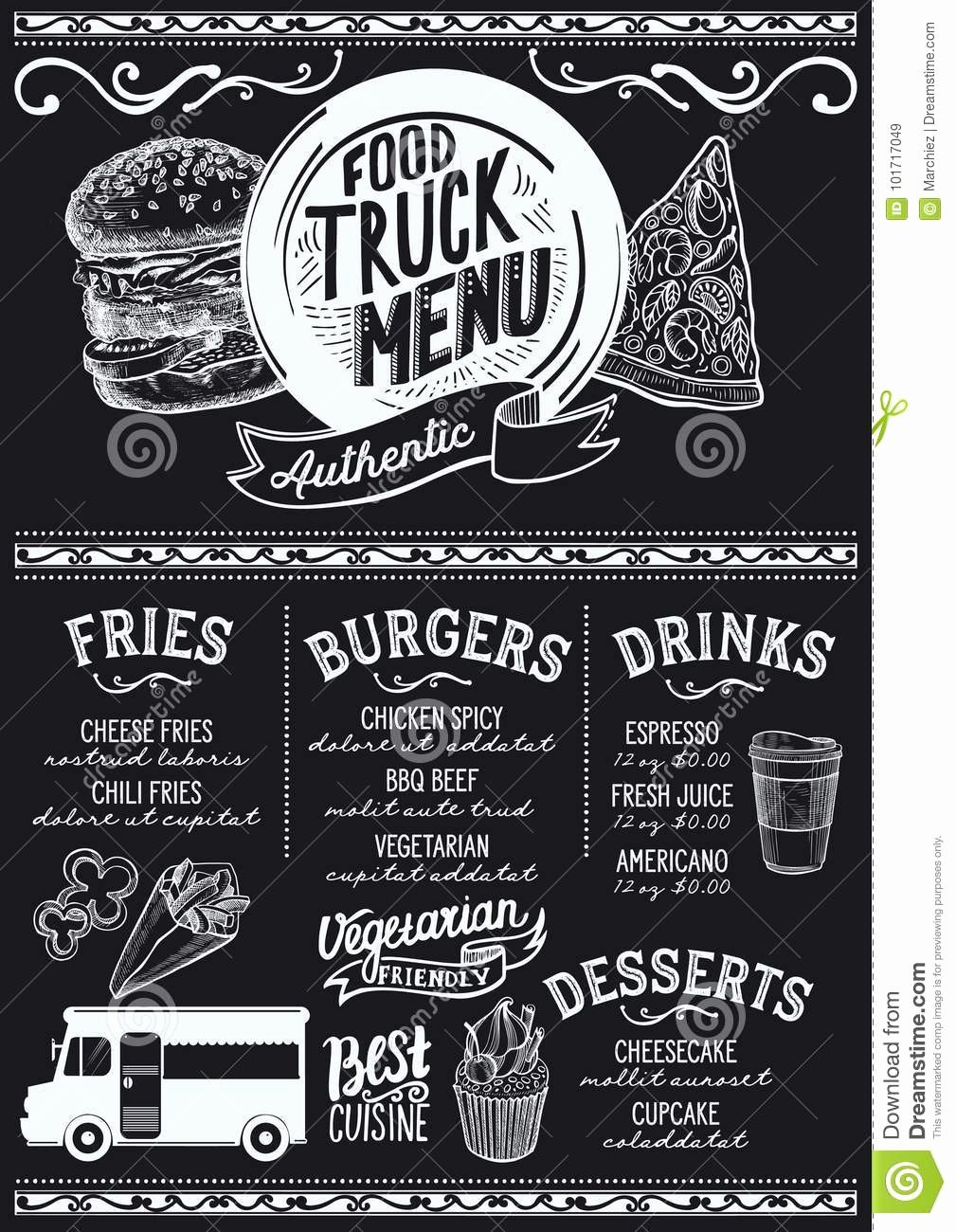 Food Truck Menu Template Stock Vector Image Of