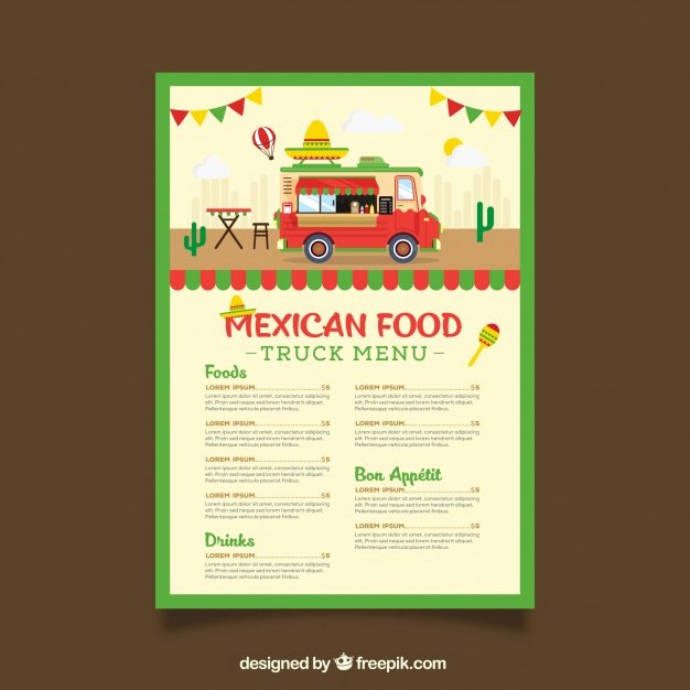 Food Truck Menu Template Wit Mexican Food Vector
