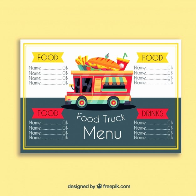 Food Truck Menu with Sandwich Vector