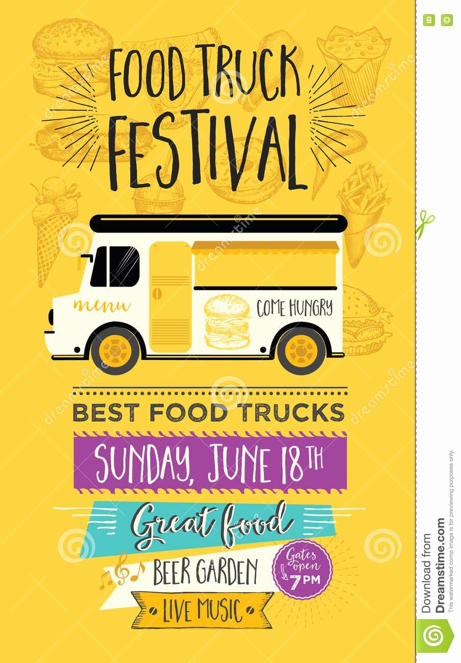 Food Truck Party Invitation Food Menu Template Design