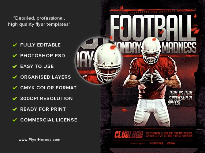 Football Monday Madness Flyer Template Flyerheroes
