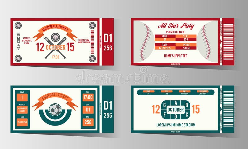 Football soccer and Baseball Ticket Vector Design Stock
