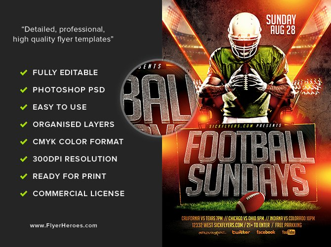 Football Sundays Flyer Template Flyerheroes