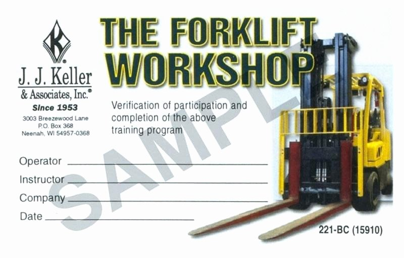 Forklift Certification Wallet Card Template 6 Resume