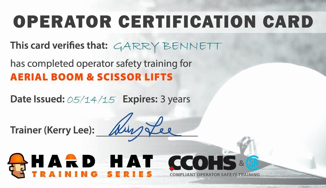 Forklift Operator Certification Card