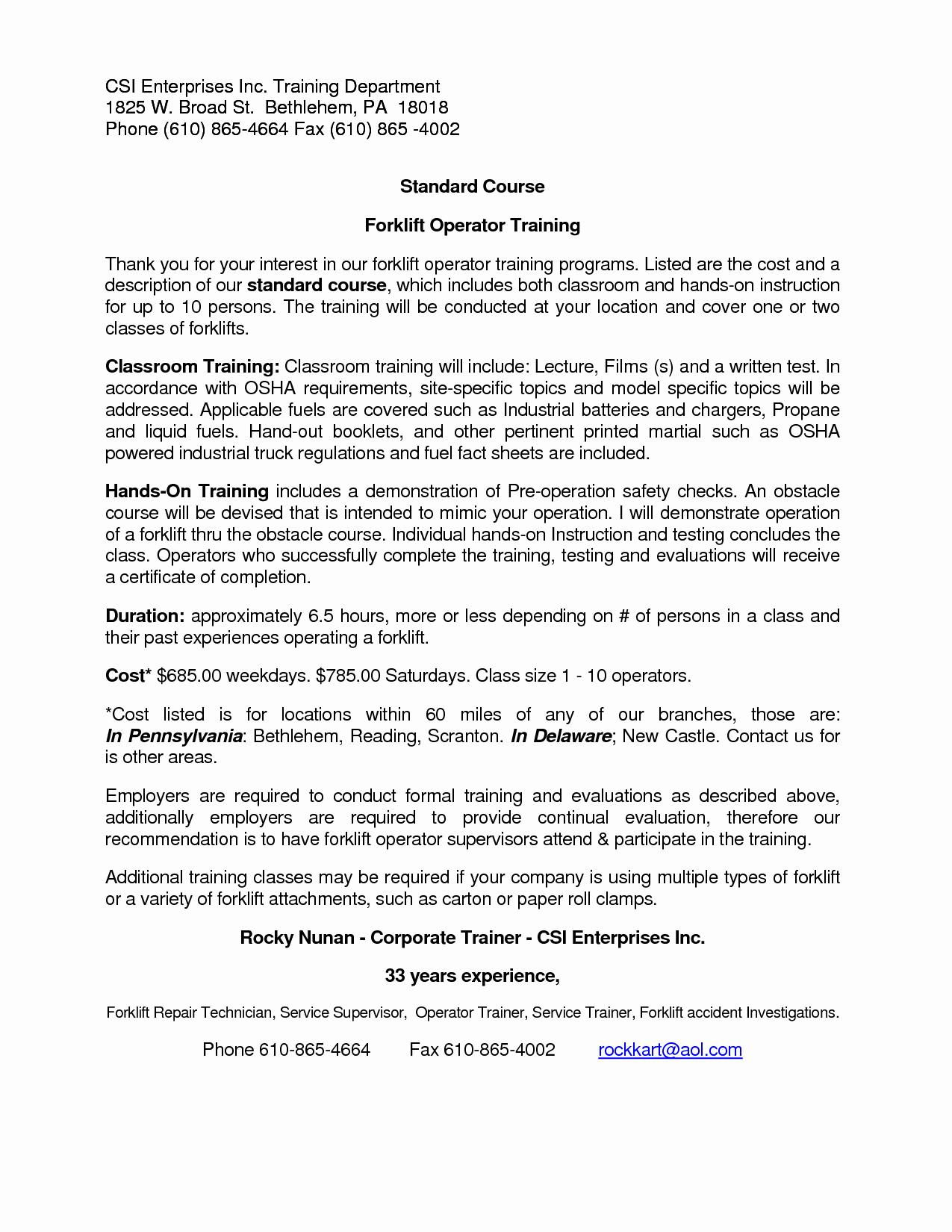 Forklift Operator Resume format