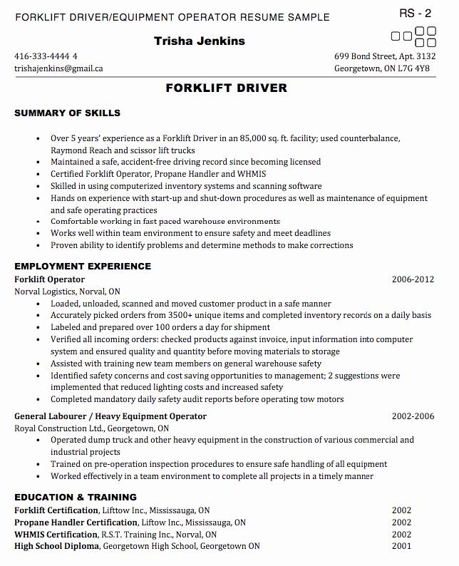 Forklift Operator Resume Sample Exampleresumecv