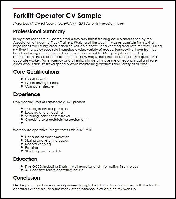 Forklift Operator Skills Resume Resume Ideas