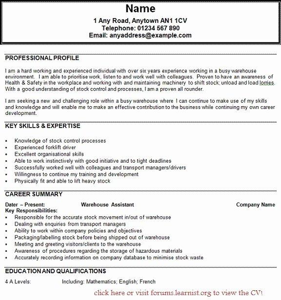 Forklift Resume Sample