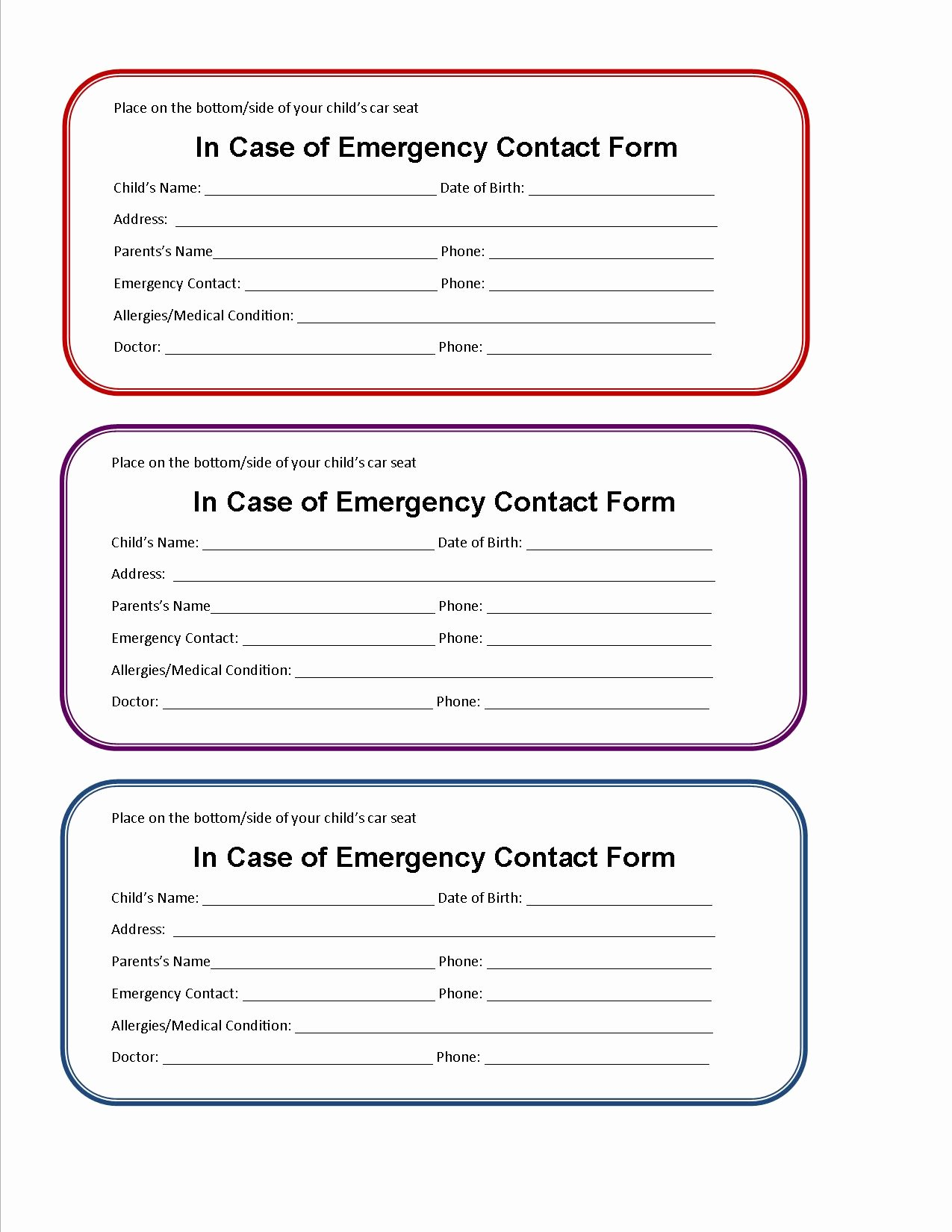 Form Child Care Emergency Contact form
