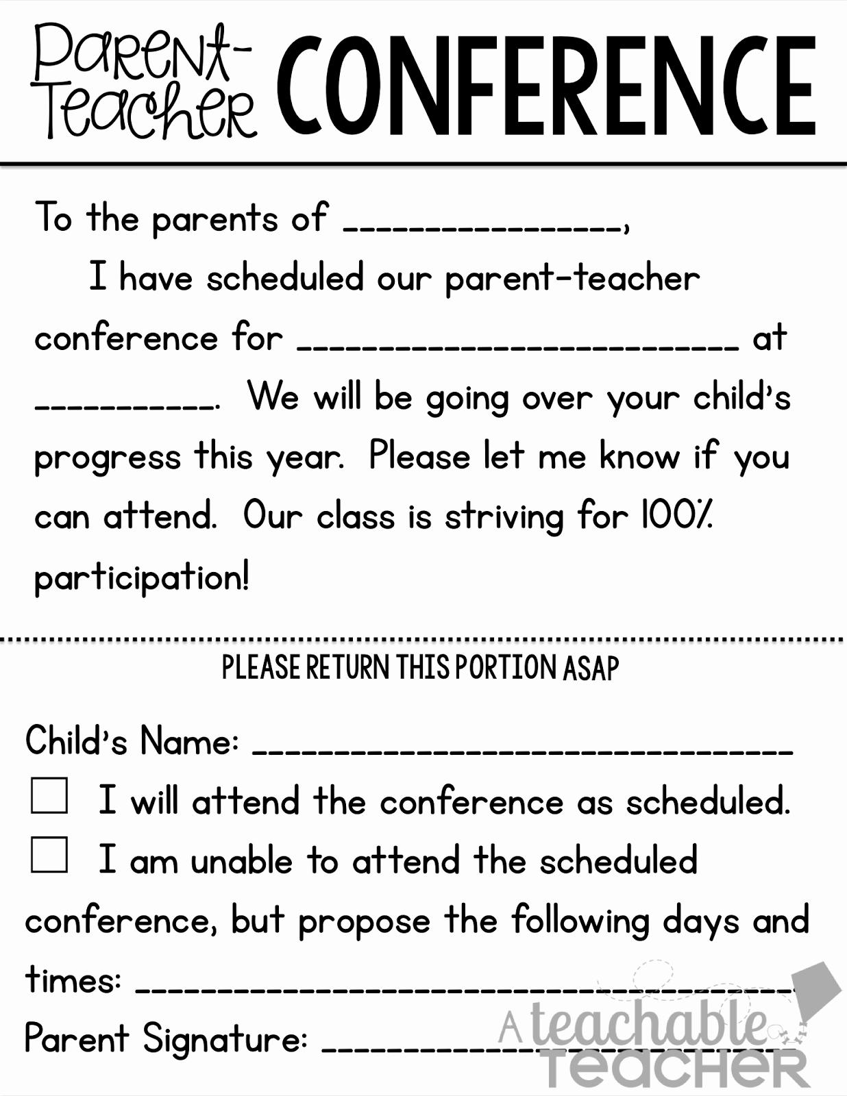 Form Download Parent Teacher Conference forms Parent