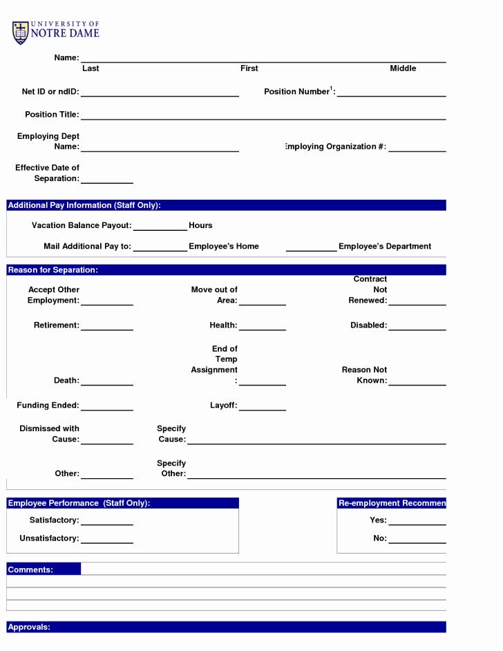 Form Employment Separation form