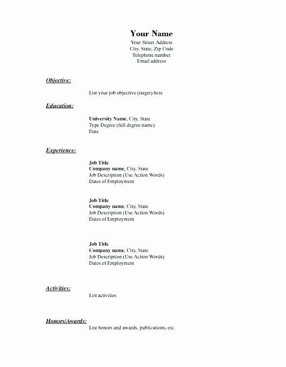 Form for Resume Basic Blank Resume form for Job