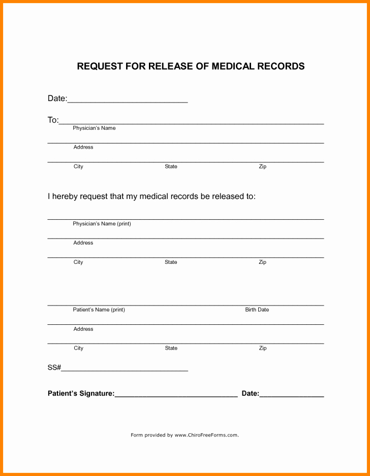 Form Generic Medical Records Release form