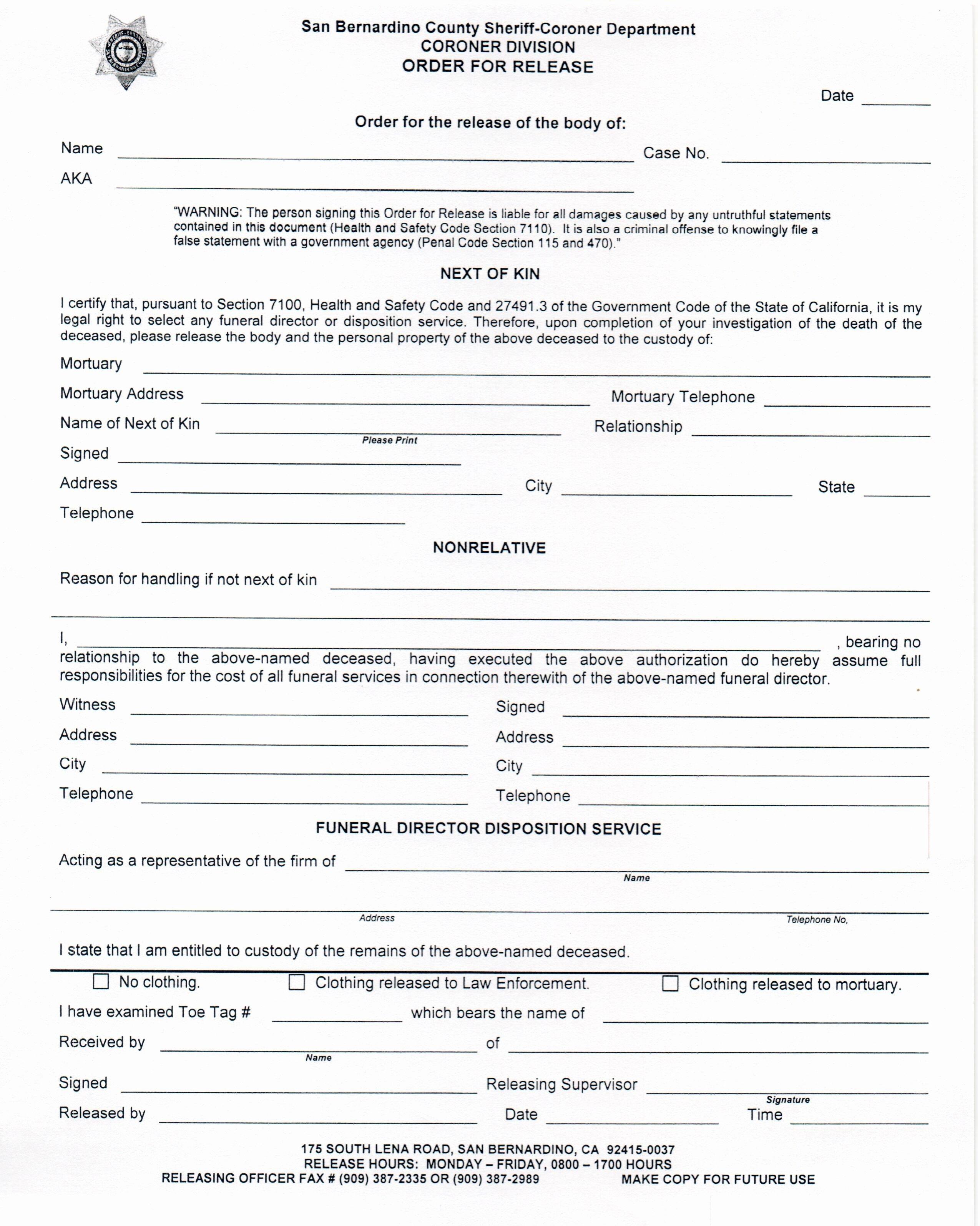 Form Hospital Release form