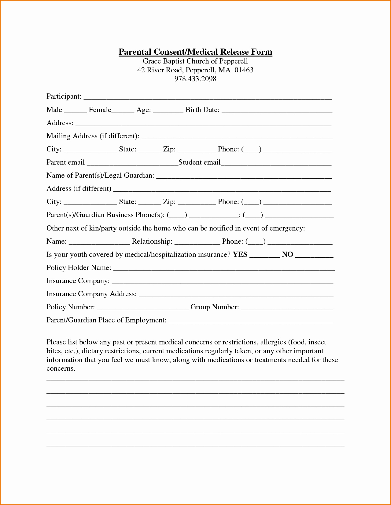 Form Medical Authorization form