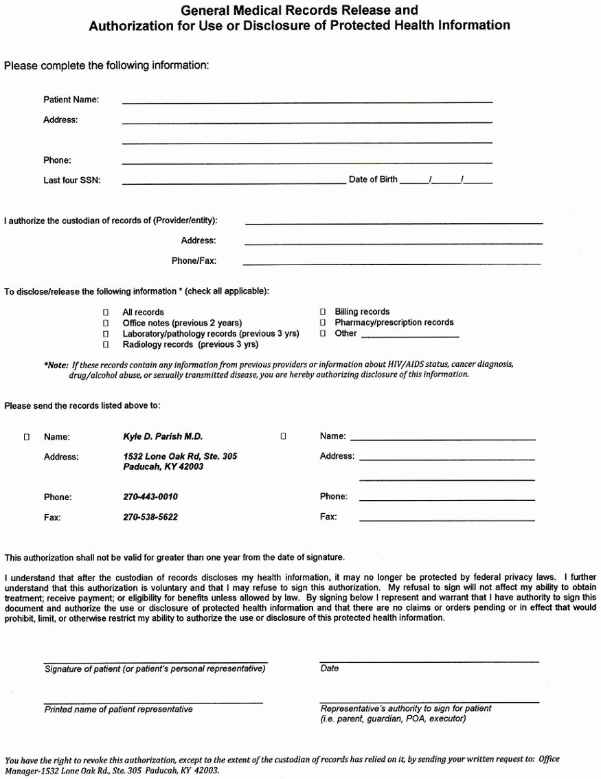Form Medical Records Release form