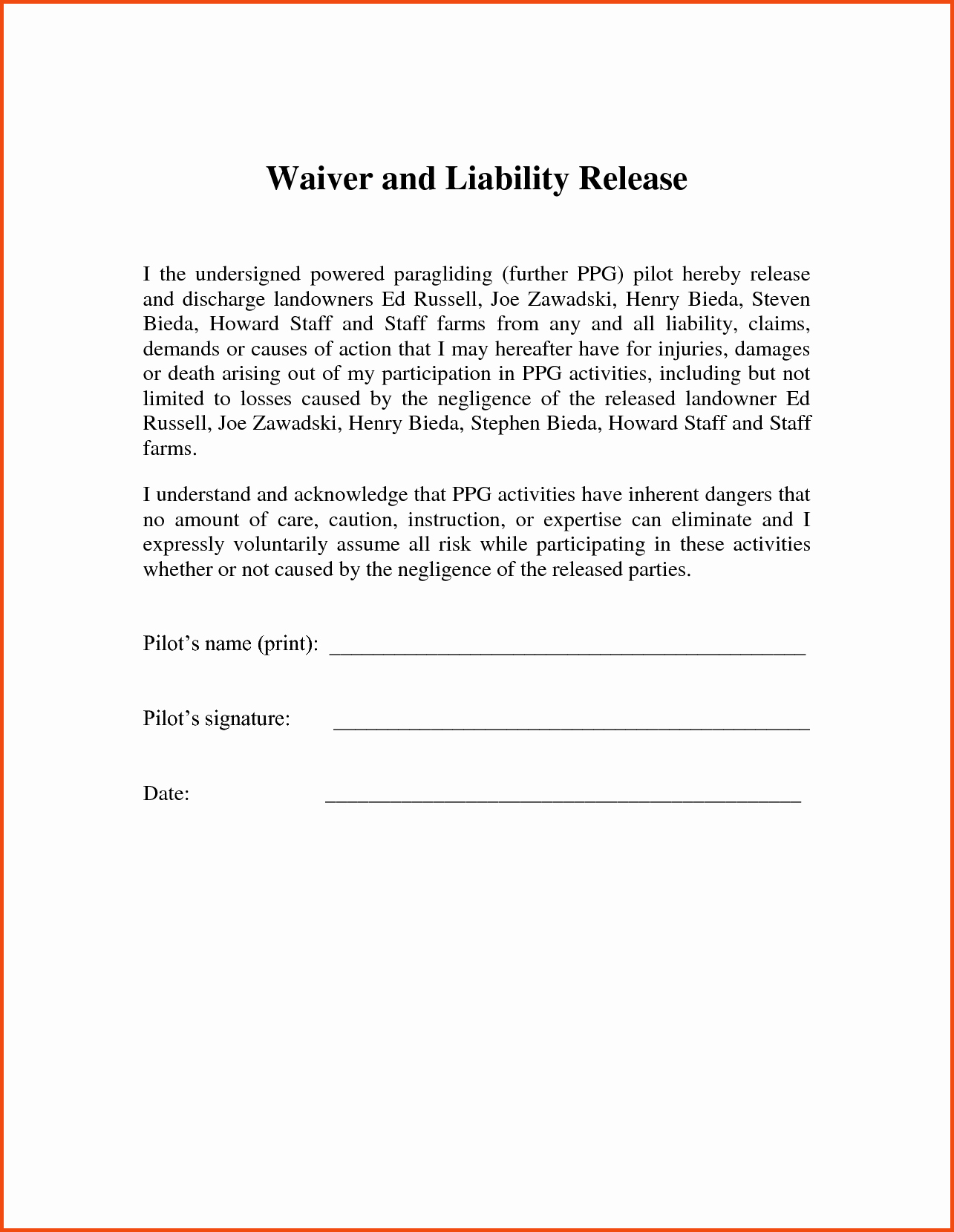 Form Printable Release Liability form Release
