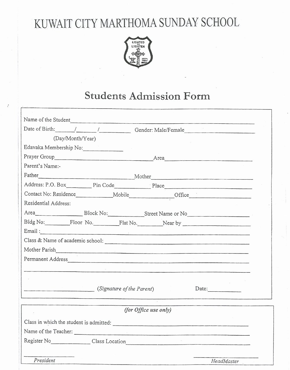 Form Sunday School Registration form