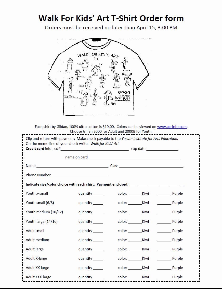 Form T Shirt order form