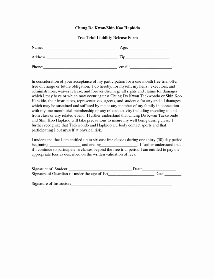 Form Trampoline Waiver form