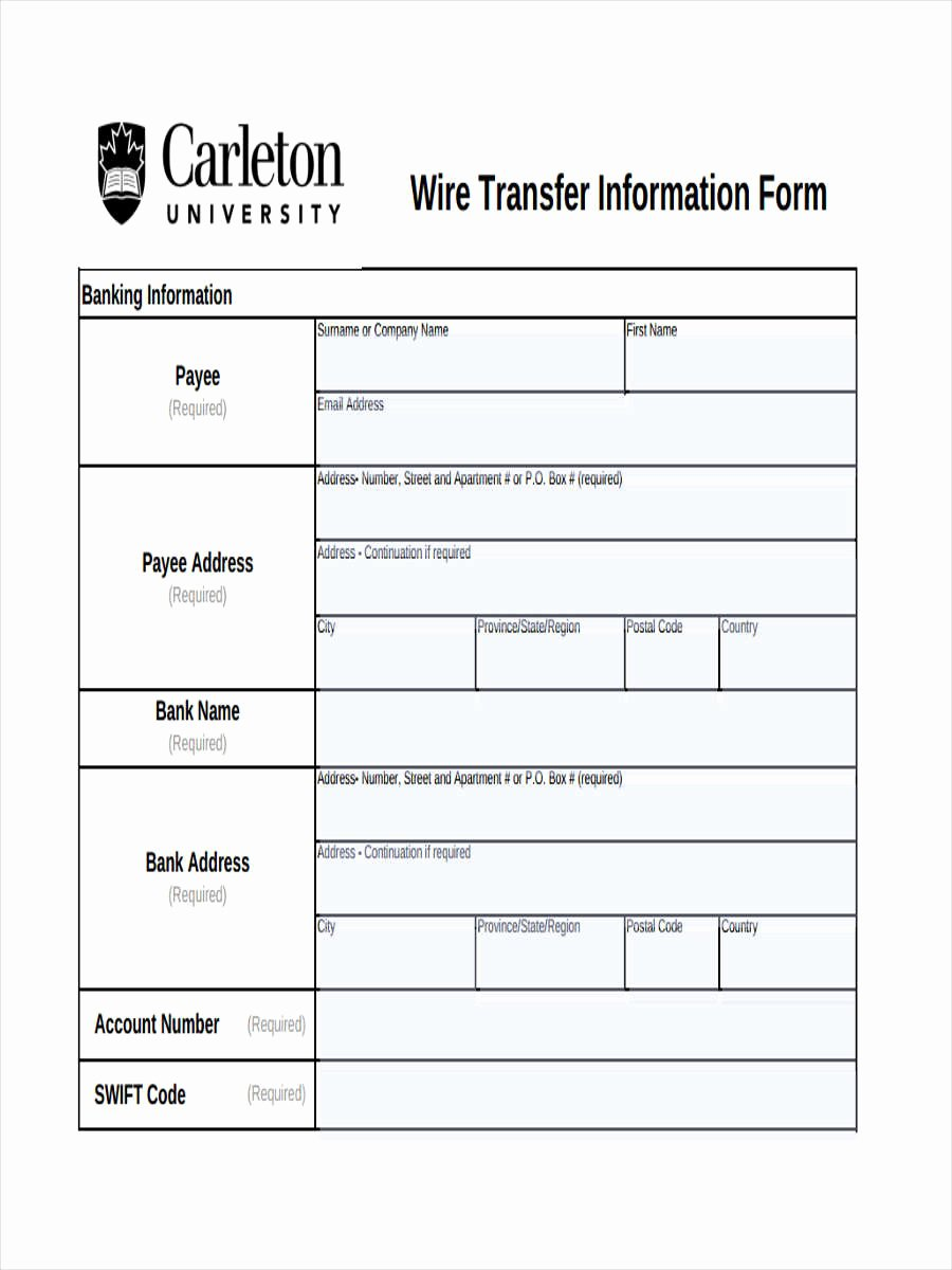 Form Wire Transfer form