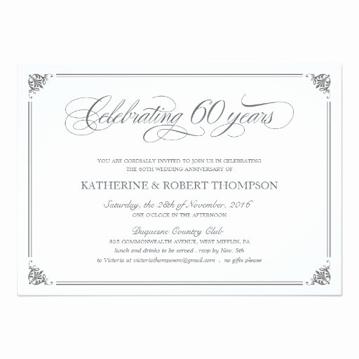 Formal 60th Anniversary Invitation Card